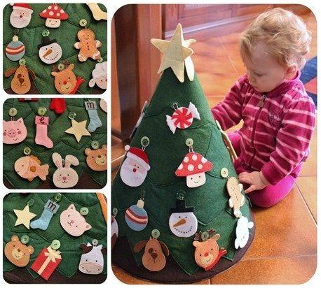 безопасная новогодняя елка для малышей, елка из фетра своими руками, развивающие игрушки своими руками для самых маленький, выкройки, игрушки из фетра