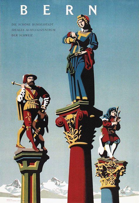 Vintage Travel Poster - Bern - Switzerland - by Hans Hartmann.