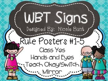 Whole Brain Teaching Rules and Signs Cute Kids on TpT by Nicole Bunt