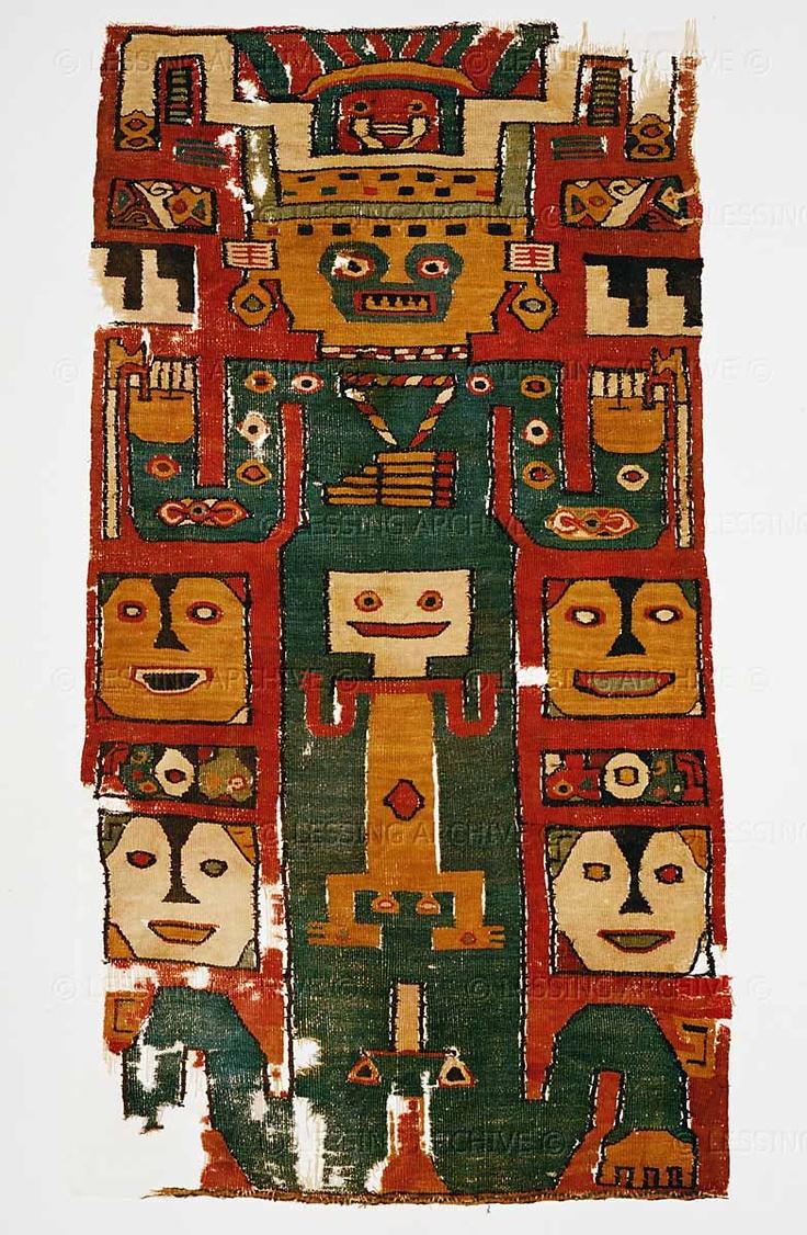 Woollen rug. Wari Culture.  Museo Nacional de Antropologia y Arqueologia, Lima, Peru
