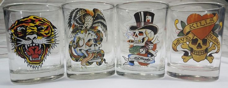 Set Of Four 4 Ed Hardy Cocktail Glasses Whiskey Glass Don Ed Hardy Designs -used