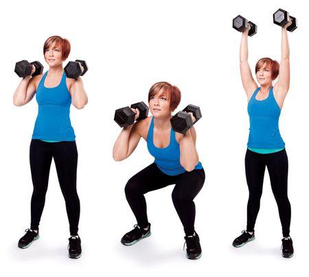 exercícios-com-halteres-agachamento-com-desenvolvimento-de-ombros