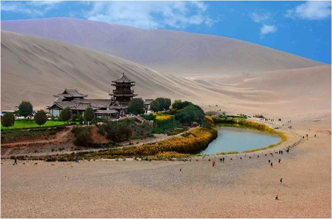 An Oasis Crescent Spring in Mount Mingsha, Dunhuang City, Gansu Province, Taklamakan Desert