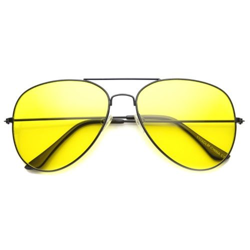 ray ban night driving glass  classic teardrop wire frame night driving yellow lens aviator sunglasses 52mm (black / yellow)