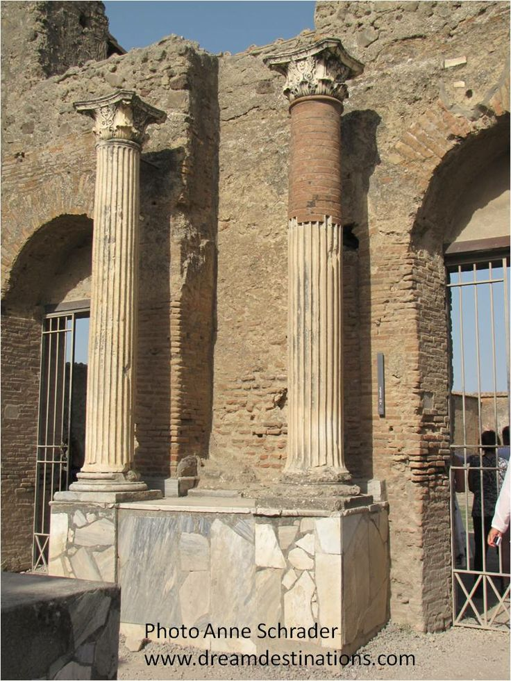 Columns outside the theatre Pompeii, Italy