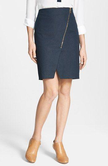Simple to DIY with a too-big skirt. Mind the gap!  Vince Camuto 'Smart Denim' Asymmetrical Zip Skirt (Regular & Petite) | Nordstrom