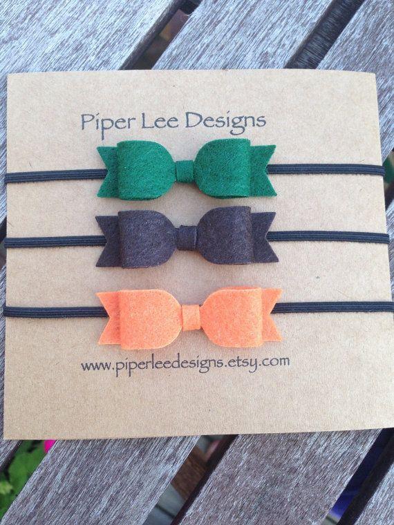 Thanksgiving headband baby headband felt bow by PiperLeeDesigns