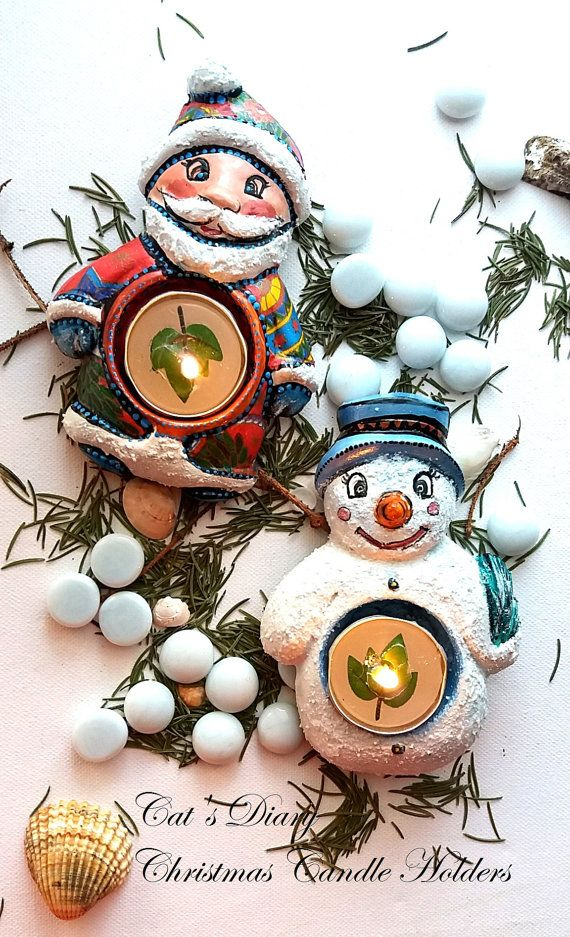 Candle Holders, Set of 2, Santa, Snowman, Christmas Candle holders, Gift for her, Unique gifts, Unusual gifts, November finds, Handmade gift  This is a set of 2 candle holders, handmade by gypsum, decorated using a mix between decoupage technique and handpaint in acrilic colors. Varnished.