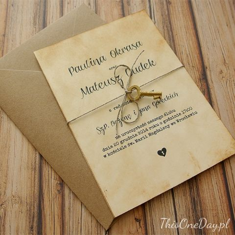 VINTAGE KEY Wedding invitation