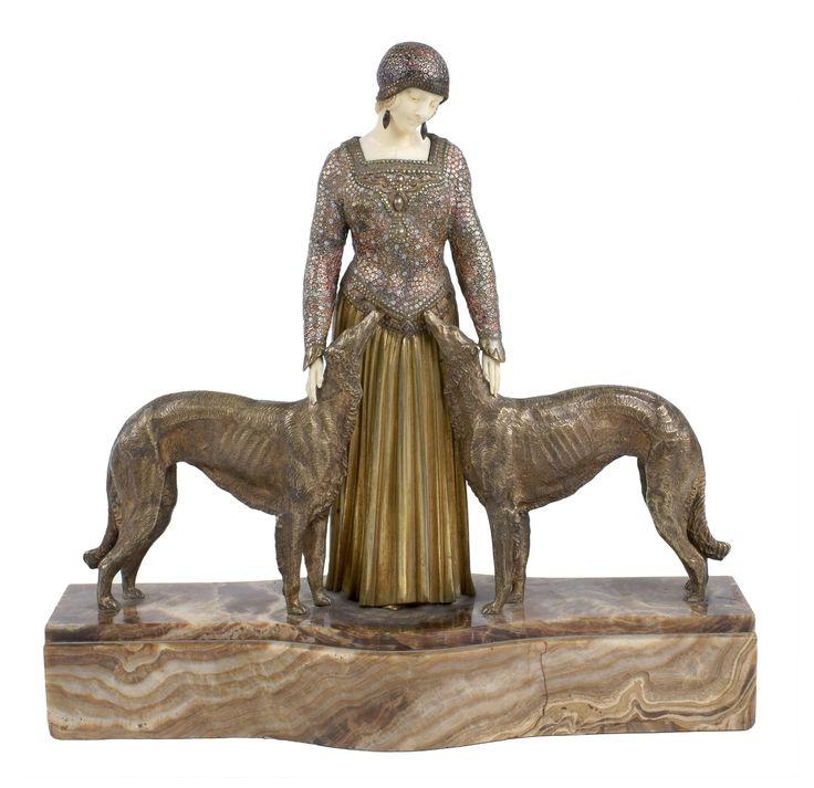 """Demetre Chiparus """"Les amis de toujours"""" 1925. Sculpture in ivory, bronze"""