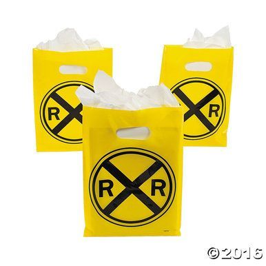Choo-choo train theme party treat sacks (goodie or favor bags) feature the popular yellow railroad crossing sign. Railroad treat bags makes an excellent party favor bags for your little engineer's birthday event. Perfect for to take home all your party treats and giveaways! You can choose to fill them with party favors, or use them for party decorations. Each package contains 12 railroad crossing favor bags.