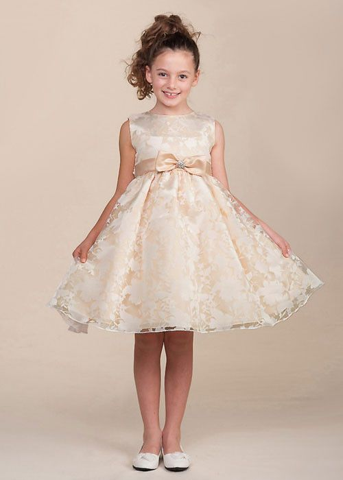 Floral Organza Flower Girl Dress with Satin Bow