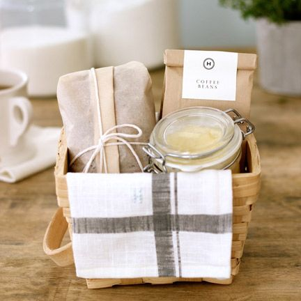 Breakfast Basket Hostess Gift: Banana Bread, Honey Butter and Coffee and a Pretty Tea Towel