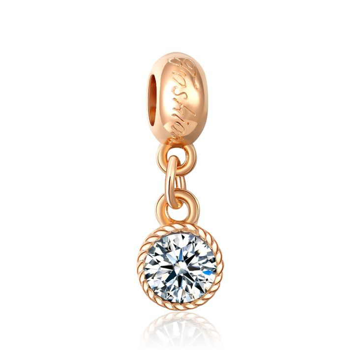 Large Shining Crystal Big Hole Charm Pendants Gold Plated Crafts Bead DIY Jewelry Accessories Fit Necklace Bracelet JPP282
