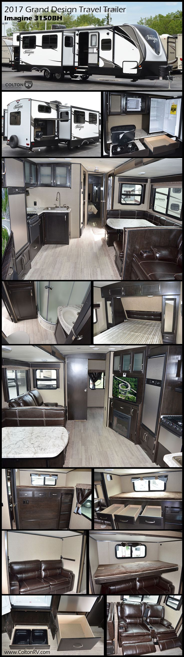 Take the whole gang along in this Grand Design Imagine 3150BH Travel Trailer featuring double slides, private bunkhouse, plus an outdoor kitchen with a two burner cook-top, refrigerator and microwave oven, making it easy to create your camp favorites right outside!