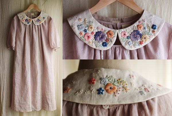 Stunning lavender dress by Rairai. The dress is so simple but the embroidered collar makes it magic.