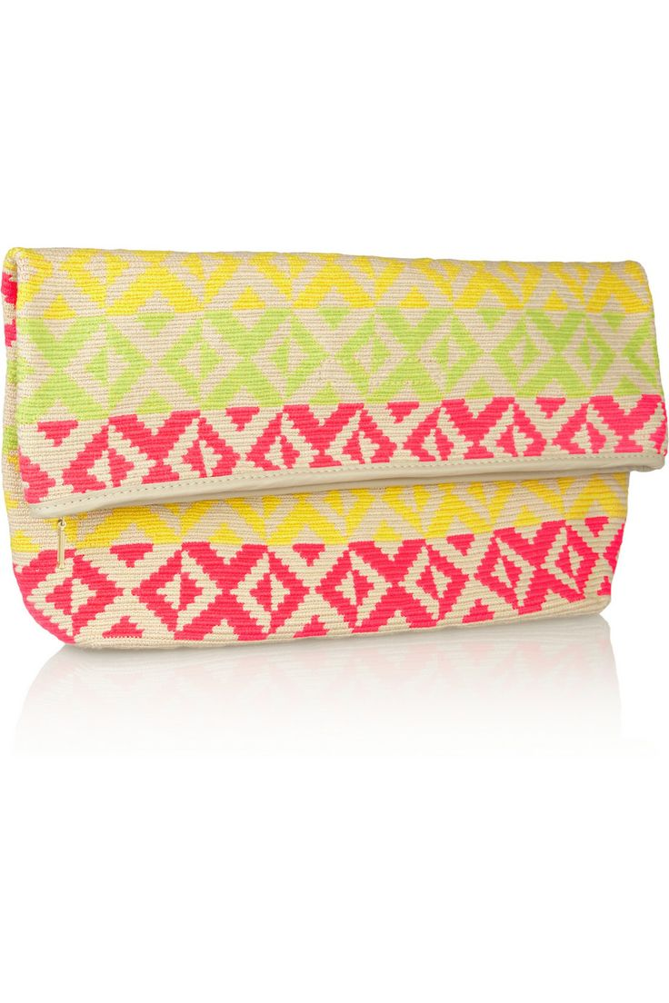 SOPHIE ANDERSON Abril leather-trimmed crocheted cotton clutch €337.02