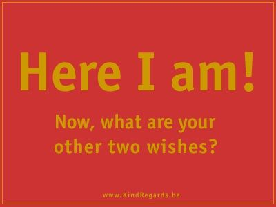 Here I am! Now, what are your other two wishes?