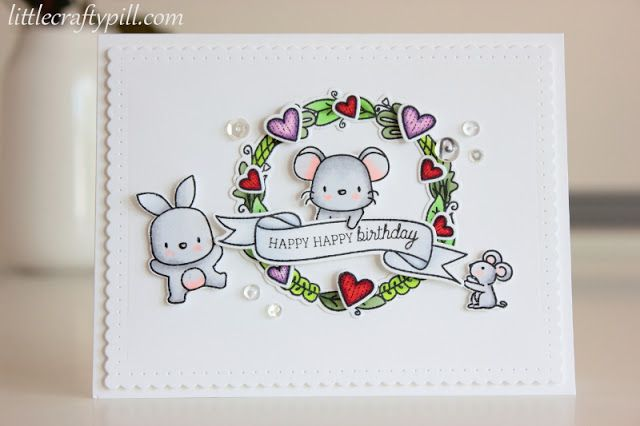 Mama Elephant Lunar Animals; Birthday; colored with Copic; wreath. bunny rabbit; mouse; tiny heart dies