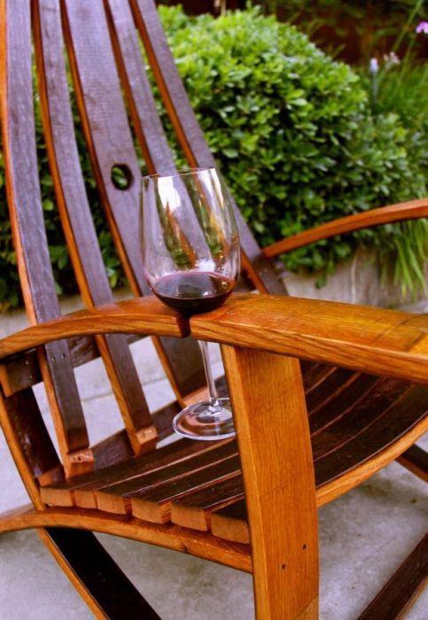 Brilliant idea!!: Adirondack Chairs, Idea, Rocks Chairs, Wine Barrels, Outdoor Chairs, Wine Holders, Wine Glasses, Glasses Holders, Wineglass