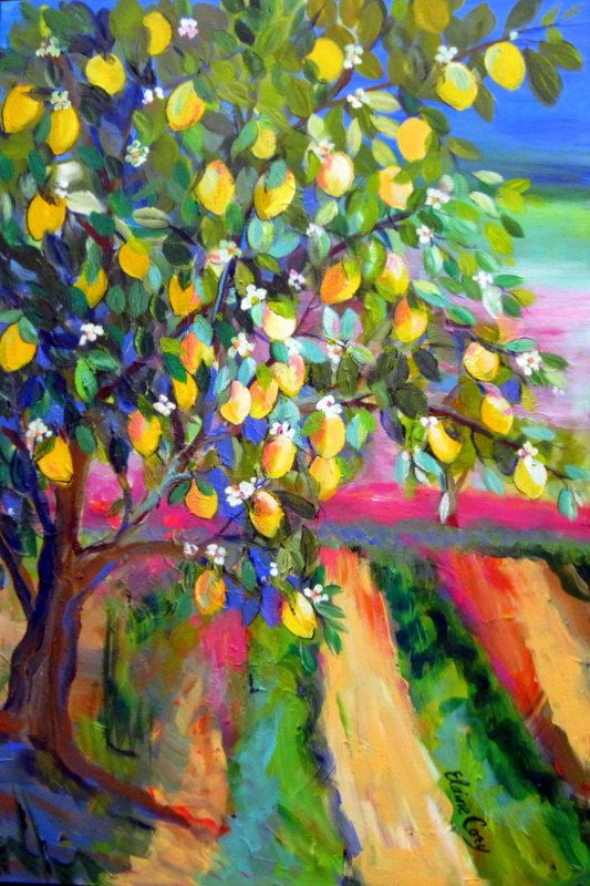Lemon Tree Large Landscape Original Painting Wall Art