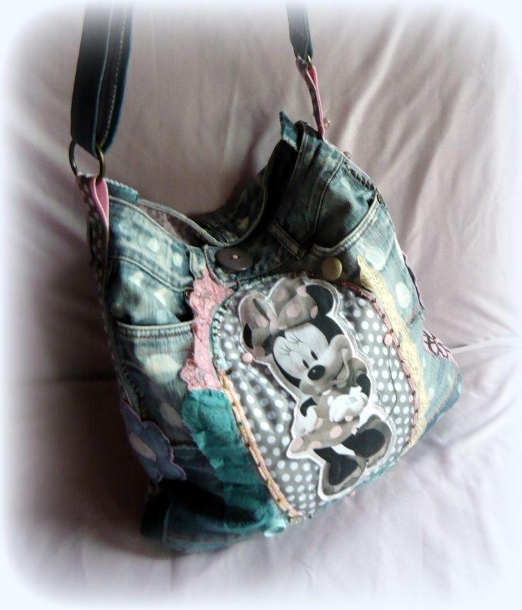 Handmade by Judy Majoros - Denim Minnie polka dots hobo bag. Recycled bag.