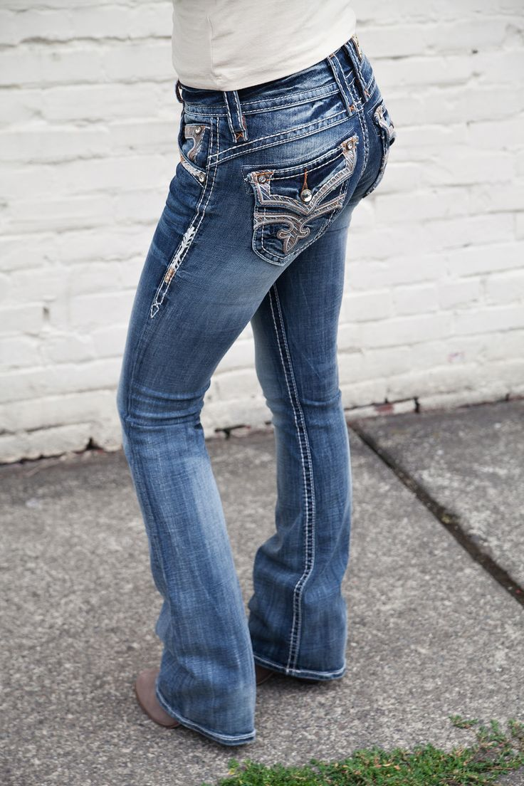 NEW Rock Revival Stephanie Jeans | Bootcut Jeans | Medium Wash | Sequins and Crystal Detail | Shop Hoity Toity for Back to School Fashion