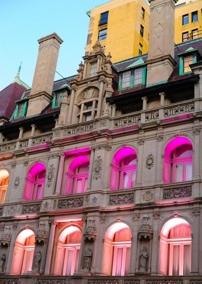 breast cancer awareness month, ralph lauren / New York: Paris, Ralph Lauren, Building, Window, Trav'Lin Lights, Neon Lights, Cancer Awareness, Neon Colors, Bright Colors