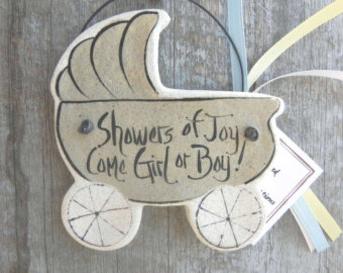 Baby Shower hanging Salt Dough Ornaments / Handcrafted Salt Dough Gift Ornaments & by cookiedoughcreations