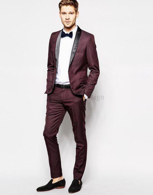 2016 Groom Tuxedos Burgundy Slim Fit Custom Made Groomsmen Best Man Men Wedding Suits Prom Formal