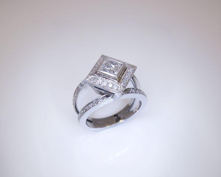 #Princesscut #diamond #engagement #ring. #handmade