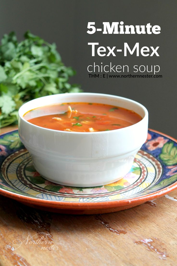This 5-minute Tex-Mex Chicken Soup is a speedy and flavorful THM E recipe for Drive Thru Sues! Fabulous for lunch or dinner.