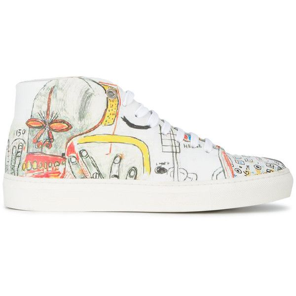 Jean-Michel Basquiat X Browns Rome Pays Off printed Mid top sneakers (1,095 SAR) ❤ liked on Polyvore featuring shoes, sneakers, multicolour, brown trainers, multi color sneakers, multi color shoes, multi colored sneakers and multicolor shoes