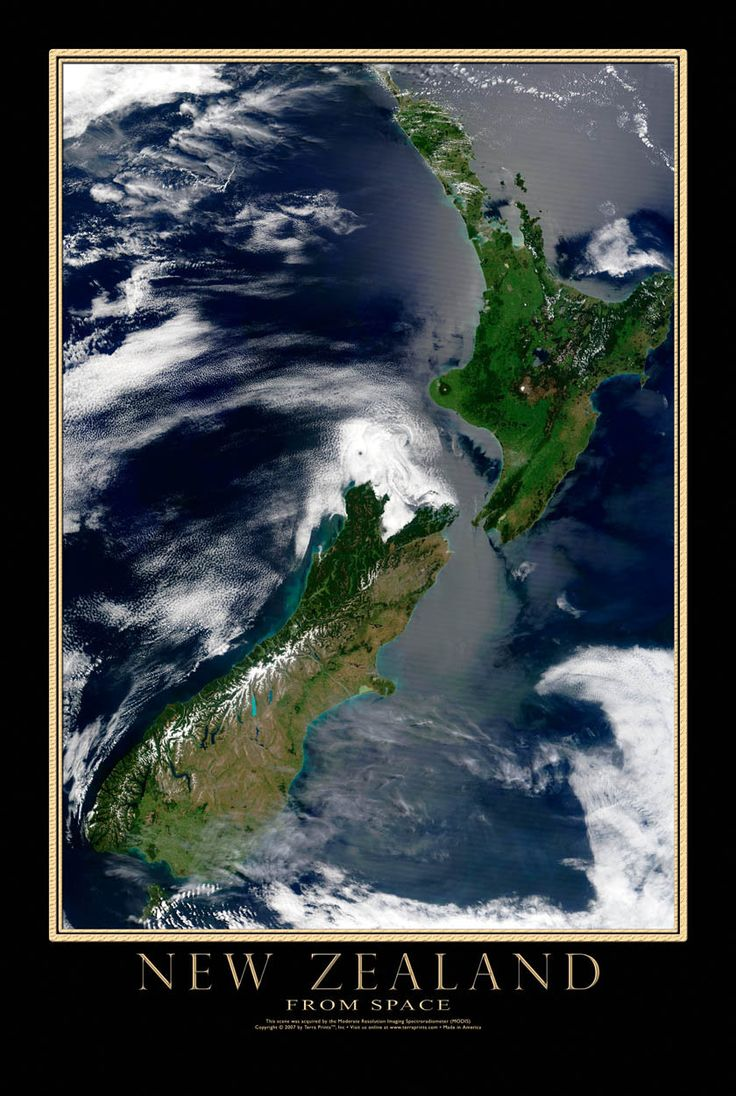New Zealand Modis Satellite Poster Map