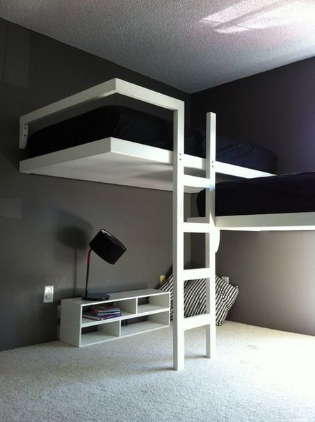 White and Black Bunk Beds Sets with Stairs in Modern Teenage Bedroom Design Ideas
