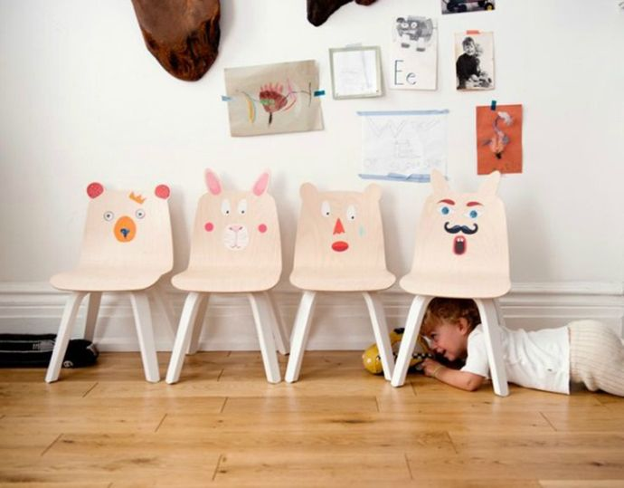 Funny Faced Animal Chair Set for Kids Room