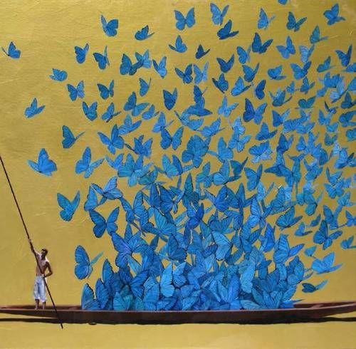 Pedro Ruiz Blue Butterfly painting Gorgeous