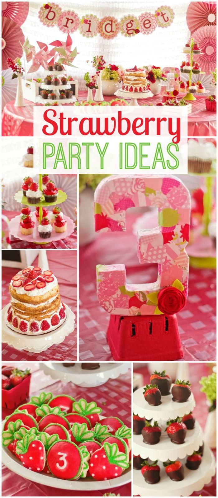 What an amazing strawberry themed birthday party! See more party ideas at CatchMyParty.com!