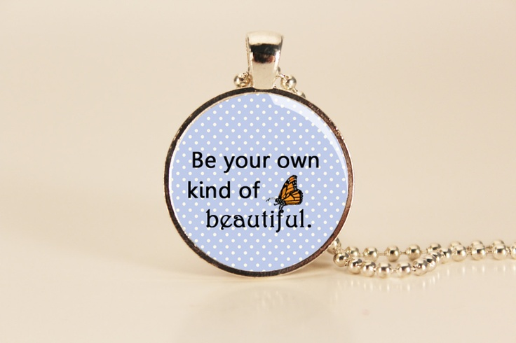 Butterfly Be Beautiful Quote Charm Necklace. $12.95, via Etsy.