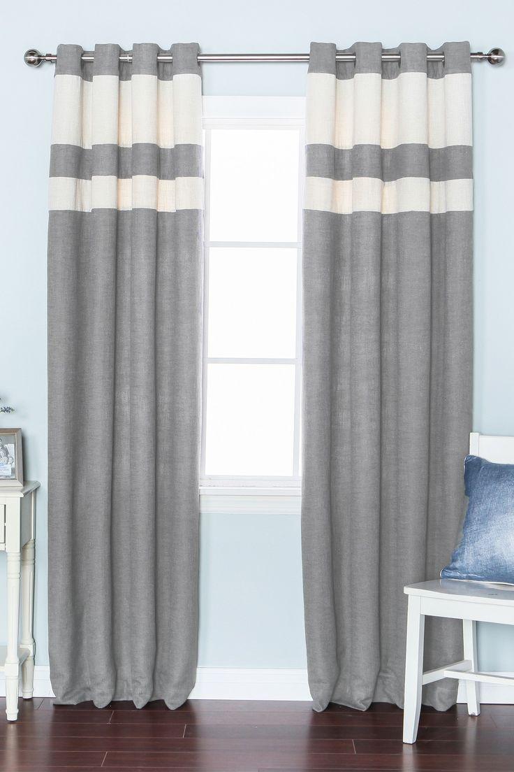Inc faux silk blackout curtain set of 2 light pink hautelook - Best Home Fashion Inc Striped Heavyweight Textured Faux Linen Grommet Top Curtain Pair Set Of 2 Panels Grey