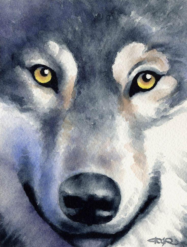 WOLF Wildlife Art Print Signed by Artist DJ Rogers by k9artgallery   WATERCOLOR