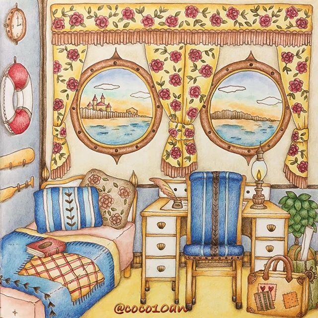 エレナの旅立ち(2017.10.28) * やっと完成✨ (*˘︶˘*).。.:*♡ * 見開きなのかな? 左ページはまた今度 * #大人の塗り絵 #コロリアージュ #ロマンティックカントリー #ロマカン #ロマンティックカントリー3  #coloring #coloringbook #adultcoloringbook #coloriage #著色本 #eriy