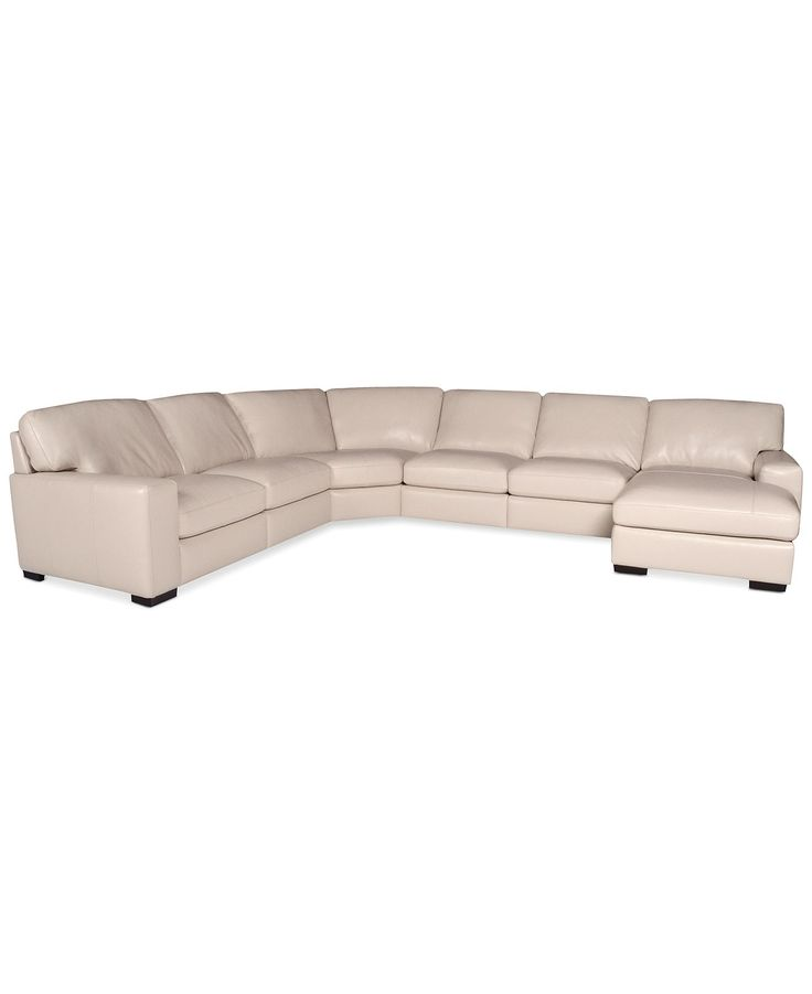 In oyster fabrizio leather 6 piece chaise sectional sofa for Macy s sectional sofa leather