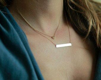 Name Halskette Bar Halskette Halskette vertikale Leiste