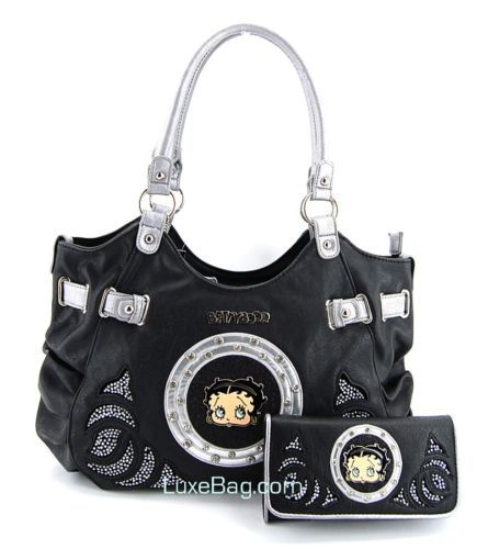 Betty Boop Black Large Purse Wallet Set With Rhinestones