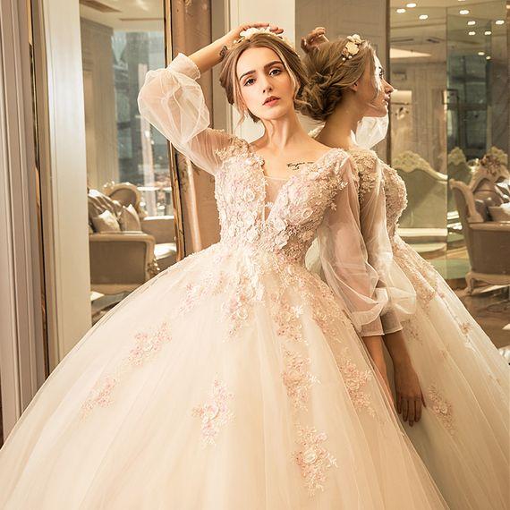 위안 페이 샤니 새로운 공주 웨딩 드레스는 2017 새로운 도착은 신부가 있었다 결혼 얇은 레이스 긴 소매 어깨에 매는 가방 치