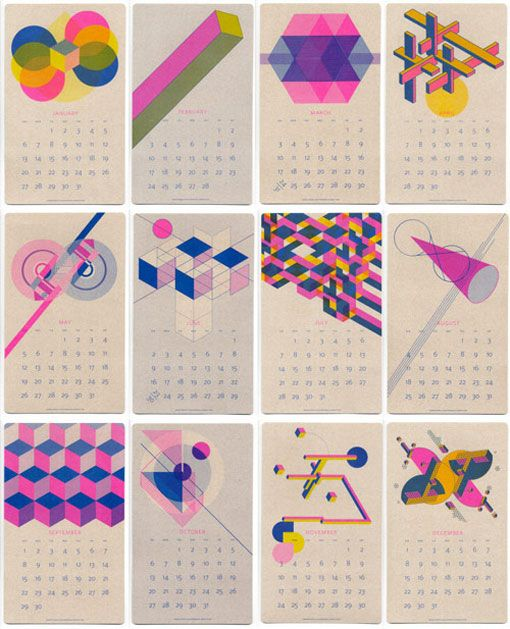Paper Pusher Printworks: 2013 Risograph Calendar  I've already bought far too many 2013 calendars—not sure where I'm hanging them all!— but Ihave to say I'm loving this vibrant Risograph Calendar by Paper Pusher Printworks.