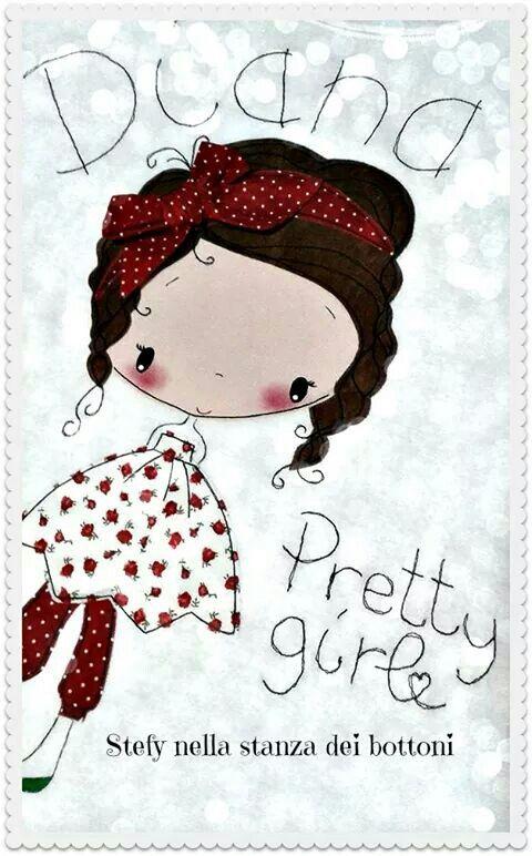 Free motion applique t-shirt handmade by me :-) Pretty girl ♥
