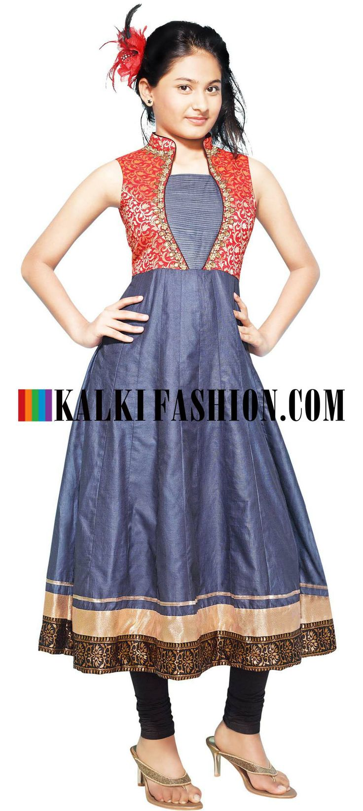 Buy Online from the link below. We ship worldwide (Free Shipping over US$100)  http://www.kalkifashion.com/blue-anarkali-suit-featuring-in-with-red-brocade-yoke.html