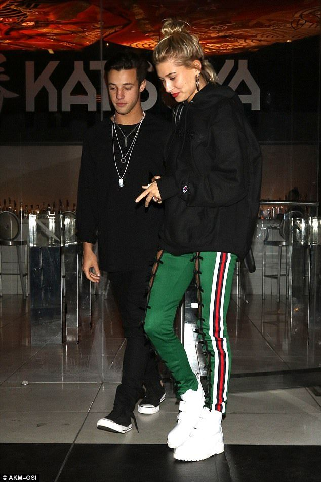 Partner look: The 20-year-old daughter of Stephen Baldwin, and the 22-year-old Expelled actor, coordinated in black tracksuits for the dinner date